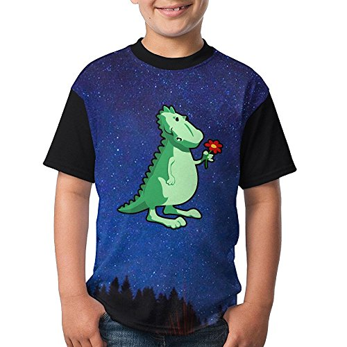 Nice Cartoon Dinosaurs Girls Round Neck Sleeve T-Shirt for cheap