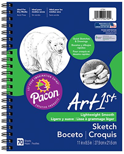 """Pacon Art1st Sketch Diary, 11"""" x 8-1/2"""", White, 70 Sheets (4794) image"""