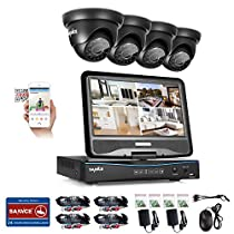 SANNCE 4 Channel 720P DVR Security Camera System with Build-in 10.1 LCD Monitor and (4) 1.0MP 1280TVL Weatherproof Outdoor CCTV Dome Cameras, Support P2P Technology and Remote Access (NO HDD)
