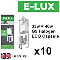 Pack of 10 x G9 33W=40W Branded 240V Dimmable 460 Lumen C Rated Safety Fused Halogen Clear Bulbs Lamps Capsules
