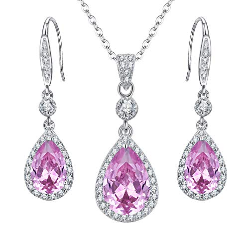 EleQueen 925 Sterling Silver Full Cubic Zirconia Teardrop Bridal Pendant Necklace Hook Dangle Earrings Set Pink Tourmaline Color