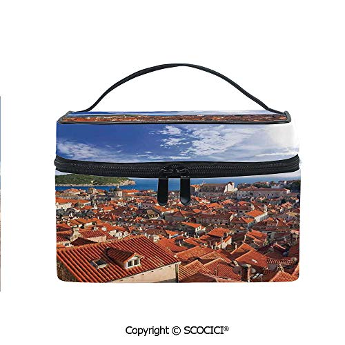 Printed Portable Travel Makeup Cosmetic Bag Sunset of Dubrovnik City with the Island Mediterranean Culture Old Town Print Deco Durable storage bag for Women Girls