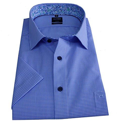 Olymp Hemd Luxor, Halbarm, modern fit, blau/weißes Minikaro Gr. 48
