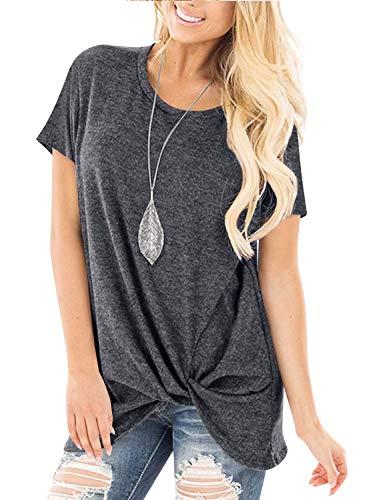 Twisted Knot Top - Yidarton Women's Comfy Short Sleeve Twist Knot Tops Blouses T Shirts(#2ga,l)