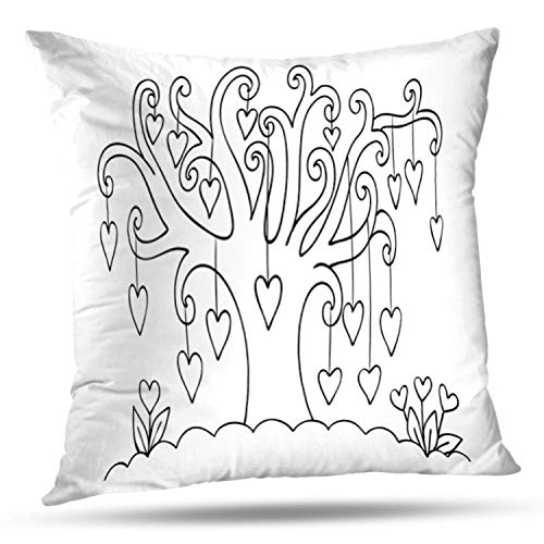 KJONG Hearts Hanging Tree Valentine Card and Coloring Book Kids and Square Decorative Pillow Case 20 x 20inch Zippered Pillow Cover for Bedroom Living Room(Two Sides Print)