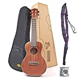 Maka 23 inch Ukulele Concert Size Professional Bundle Mahogany Satin Finish with Free Strap Gig Bag