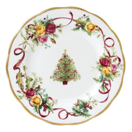 Royal Albert Old Country Roses Christmas Tree Salad Plate, 8-Inch (Christmas Tree Serving Platter)