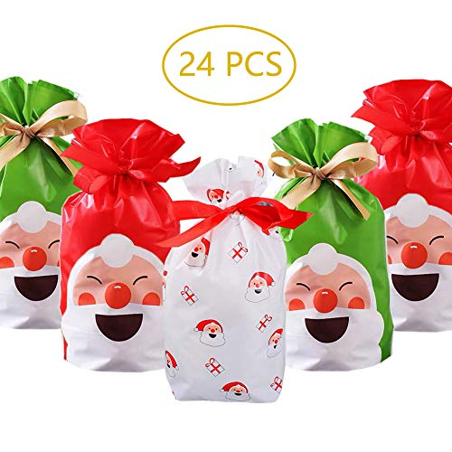 Christmas Gift Bags,24pcs Christmas Party Favor Bags Treat Bags Santa Plastic Drawstring Bags Candy Goodies Bags Gift Wrapping Bags Holiday Party Decoration