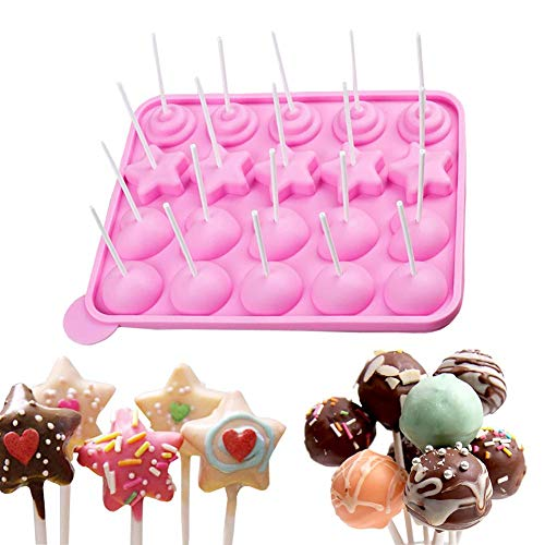 ESA Supplies 20 Cavity Silicone Mold for Cake Pop Silicone Lollipop Hard Candy Molds Cupcake Baking Sets]()