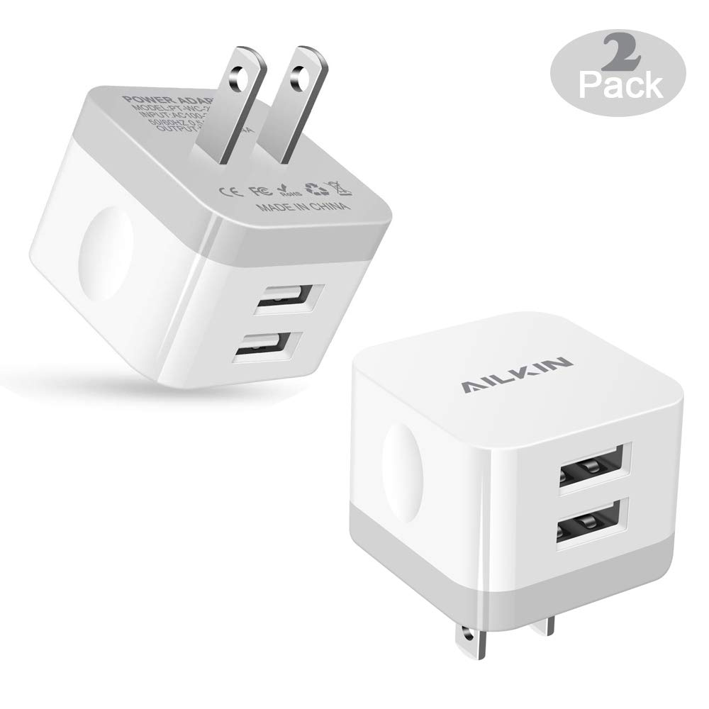 2Pack USB Wall Charger Plug, AILKIN 2.4A Dual Port USB Adapter Power Cube Fast Charging Station Box Base Replacement for iPhone XR XS MAX X/8/7, iPad, Samsung, LG, Pixel Phones USB Charge Block-White