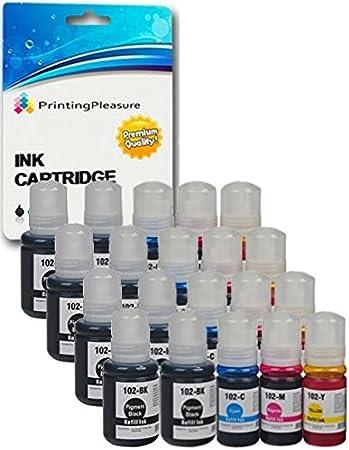Printing Pleasure 102 Pack de 20 Botellas de Tinta para Epson EcoTank ET-2700 ET-2750 ET-3700 ET-3750 ET-4750: Amazon.es: Electrónica