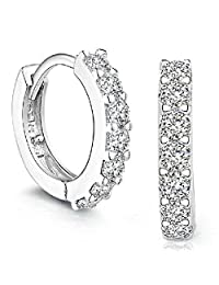 Coromose Sterling Silver Rhinestones Hoop Diamond Stud Earrings for Women