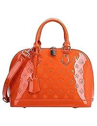SAIERLONG Womens Embossing Orange Genuine Leather Messenger bag handbag shoulder bag