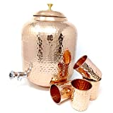Dungri Hammered Copper Water Dispenser Stoarge Pot Matka 12 Ltr (405 Ounce) With 4 Copper Tumbler Glass For Ayurvedic Health Benefits