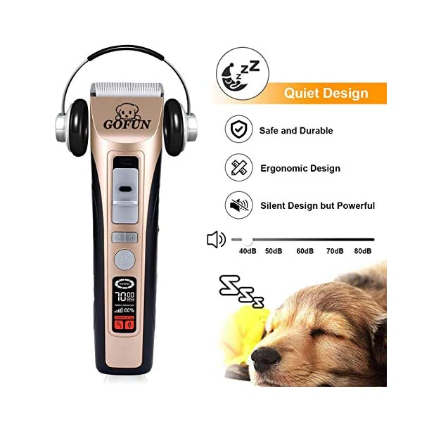 GOFUN Dog Clippers, 5 Speed Cordless Low Noise Pet Clippers Dog Trimmer for Dogs Cats Horses with LCD Screen Indicate Power/Oil/Cleaning 6