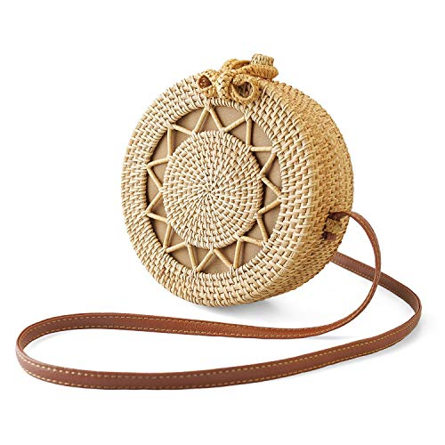 SUNKY Handwoven Round Rattan Bag Crossbody Bags Handmade Clutch Woven Handbag For - Clutch Woven Handbag