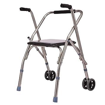 Andador plegable de acero inoxidable con ruedas, para ...