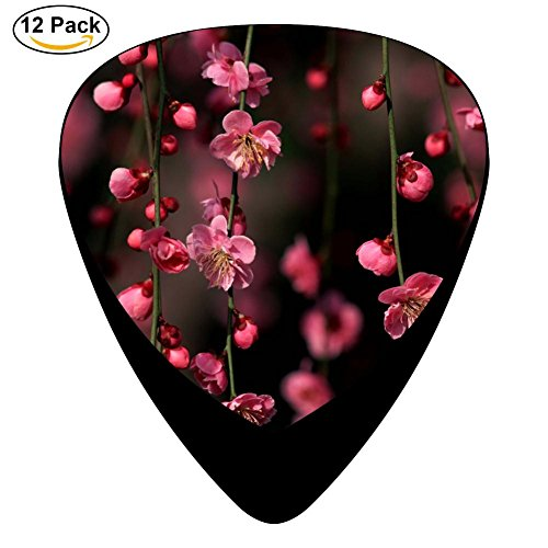 Guitar Picks Celluloid Flower Cherry Blossoms 12 Pack Shape For Acoustic Guitar Mandolin Electric Guitar And Bass -