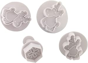 Cookie Plunger Cutters Set for Christmas,4 pcs Food Grade Plastic Christmas Cookie Stamp Cookie Cutter Fondant Cake Direct Embossing Stamper Spring Stamping Cutter for Party Event Supply(Elk)(White)