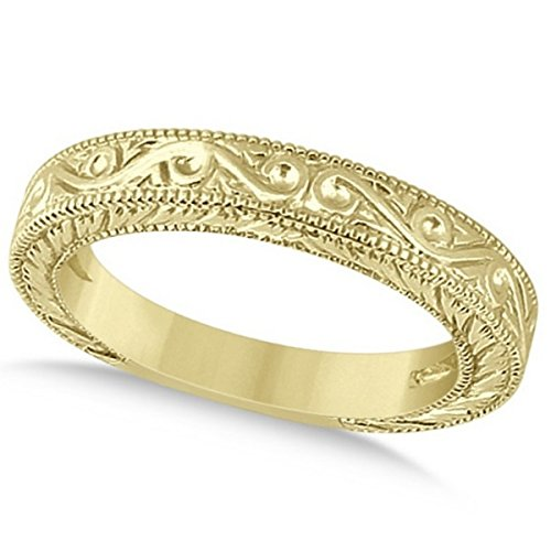 Women's Vintage Style Filigree Wedding Band with Defining Milgrain Edge in 14k Yellow Gold 14k Yellow Gold Milgrain Edge