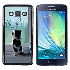 Shell-Star Arte & diseño plástico duro Fundas Cover Cubre Hard Case Cover para Samsung Galaxy A3 / SM-A300 ( Cute Funny Cat Kitten )