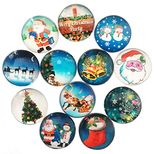 12 Pcs Refrigerator Magnets Oval Fridge Magnets Stickers Funny Magnets Decorative Magnets (Christmas)