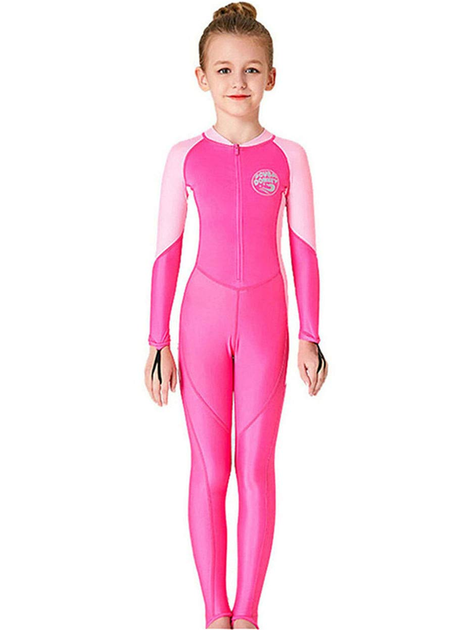 JELEUON Little Kids Girls One Piece Water Sports Sun Protection Rash Guard UPF 50+ Long Sleeves Full Suit Swimsuit Wetsuit Rose by JELEUON