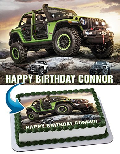 Jeep Rubicon Wrangler JL, JK, TJ, YJ Edible Image Cake Topper Personalized Icing Sugar Paper A4 Sheet Edible Frosting Photo Cake 1/4 ~ Best Quality Edible Image for cake