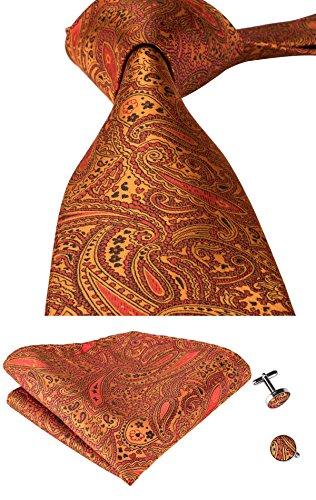 Hi-Tie Mens Orange Paisley Woven Jacquard Silk Tie Hanky Cufflinks set