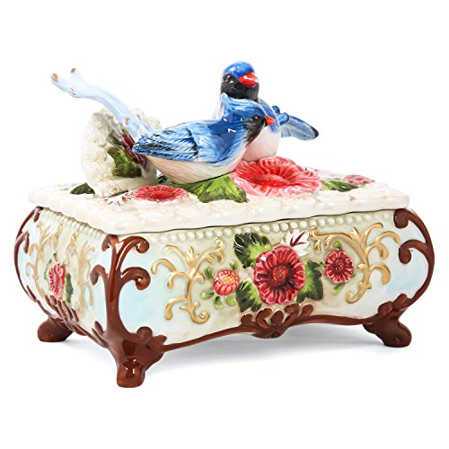 FORLONG FL7001 Magpie in Azaleas Jewelry Box Ceramic Box Keepsake Necklace Bracelet Trinket Box Jewelry Holder Home Decor Organizer Kitchen Décor