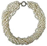 Chunky, Contemporary and Bold Statement White 12 strand rice cultured Pearl necklace with a large (925) Silver lifebuoy clasp