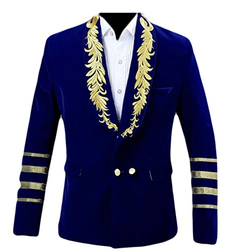 Alion Mens Warm Velvet Embroidered Double Breasted Jackets Blazer Blue ()