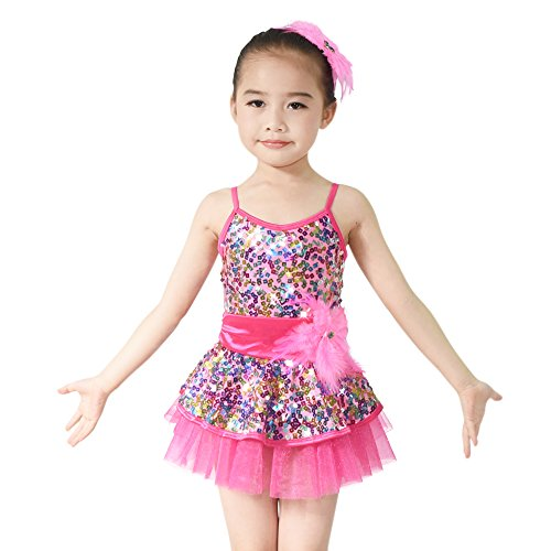 MiDee Girls' Rainbow Square Sequins Ballet Costume Dance Dress (SC, Rose) (Dance Costumes For Competition Lyrical)
