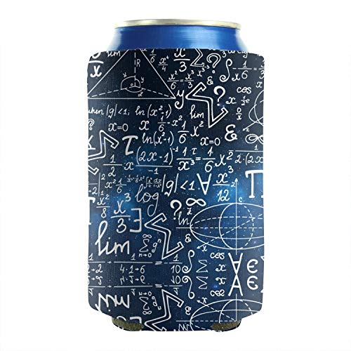 2 Pack Durable Collapsible Fully Stitched Insulated Bottles Holder Neoprene Beverage Coolers Fits 12 Ounce Blue Galaxy Mathematical Signs Formula Cold Drink Soda Water Beer Can Sleeves]()