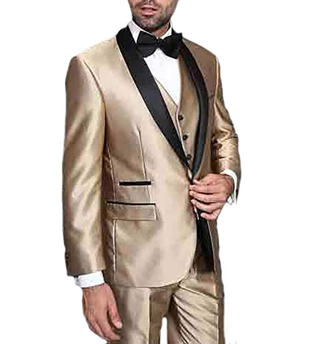 Mens Three Piece Tuxedo Suit Sets - Regular Fit Shawl Lapel ...