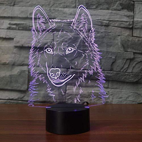 Led creativo animal cabecera 3D lobo cabeza modelado l/ámpara de escritorio accesorio de iluminaci/ón dormitorio decoraci/ón beb/é sue/ño noche luces regalo de vacaciones