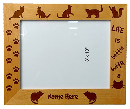 Personalized Laser Engraved Wooden Picture Frame 8X10 Cat lovers Cat - Wooden Picture Engraved Frames
