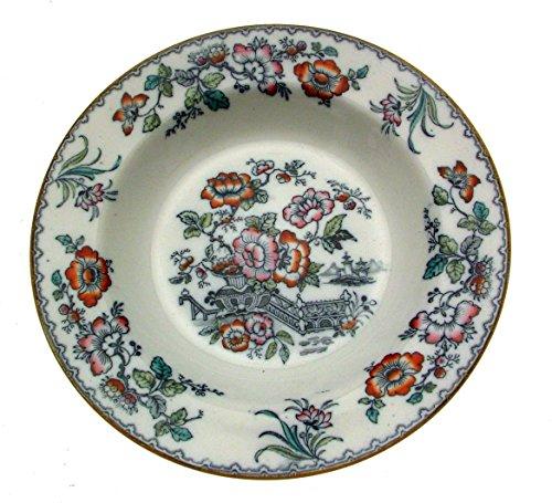 Flow Blue Soup Bowl - MINTON c1915 546H Flow Blue Chinoiserie Soup Bowl