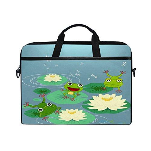 Laptop Computer Bag Cute Frog Notebook Shoulder Messenger Cases Packs for Women Men (15-15.4 in)