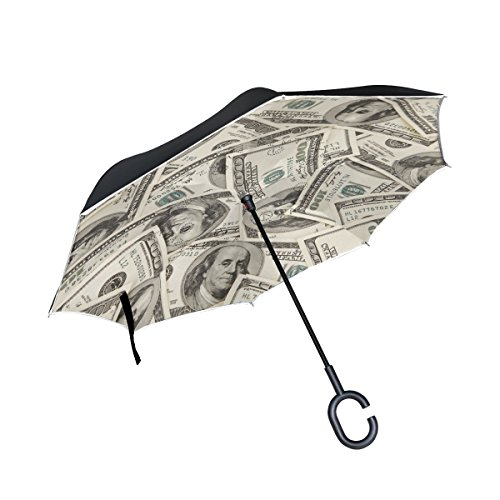 imobaby Jennifer US Dollar Currency Money Straight Self-standing Reserve Umbrella Double Layer Inverted Folding Umbrella Waterproof Umbrellas for Car
