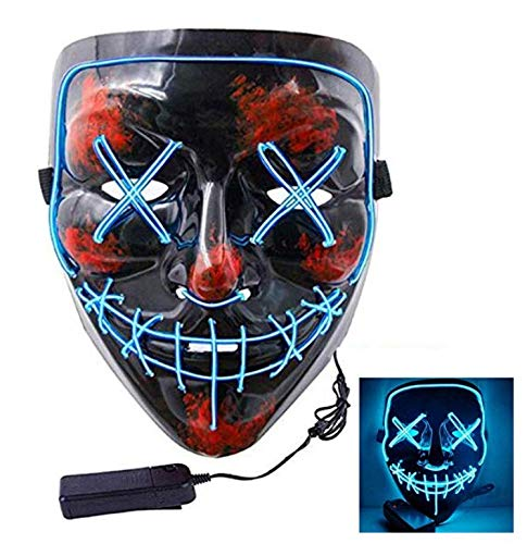 Halloween Mask LED Light Up Party Masks The Purge Election Year Great Funny Masks Festival Cosplay Costume Supplies Glow in Dark (Blue) -