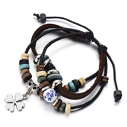 Four leaf Clover Leather Bracelet Wristband