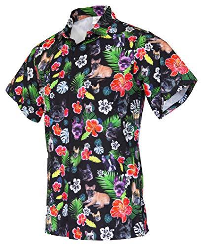 Funny Guy Mugs Men's Hawaiian French Bulldog Button Down Short Sleeve Shirt, X-Large