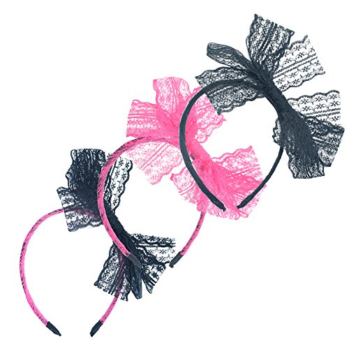3 Pieces 80's Party Lace Bow Headband Hair Band 80s Costumes for Wome