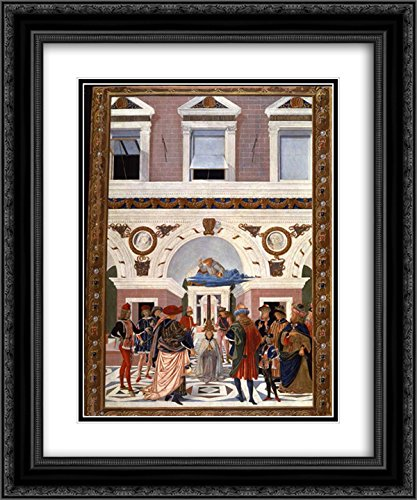 Pinturicchio 2x Matted 20x24 Black Ornate Framed Art Print 'Painting cycle for the miracles of St. Bernard, scene Healing the blind and deaf Riccardo Micuzio dall - Dalls Galleria