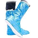 UUstar® Cute Beautifull Fashion Waterproof Foldable Rain Boots Shoes Boots Covers Protector for Children Women Girls Boys Men (Blue, L)