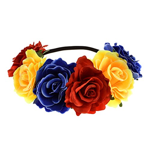 Flower Rose Blue (June Bloomy Rose Floral Crown Garland Flower Headband Headpiece for Wedding Festival (Red Yellow Blue))