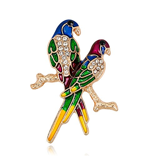 Crystal Parrot Pin (EmmaGreen Parrot Bird Couple Parrots Gold color Toucan Brooch Pin with Pearl Enamel Animal Crystal Rhinestone for Clothes Bags Backpacks Jackets Brooches (Blue))