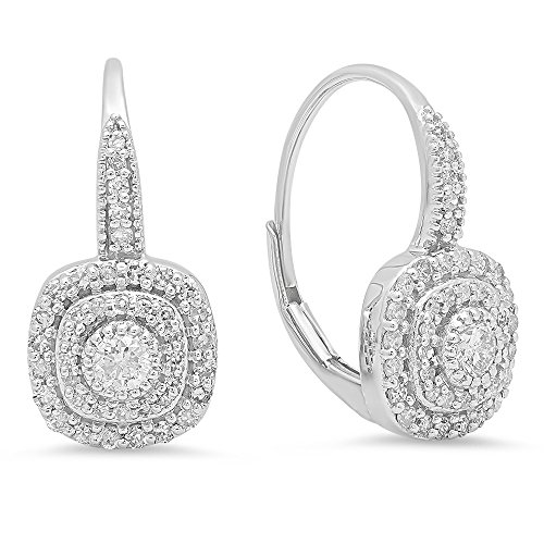 Dazzlingrock Collection 0.65 Carat (ctw) 14K Round Cut Diamond Ladies Halo Style Dangling Drop Earrings, White Gold