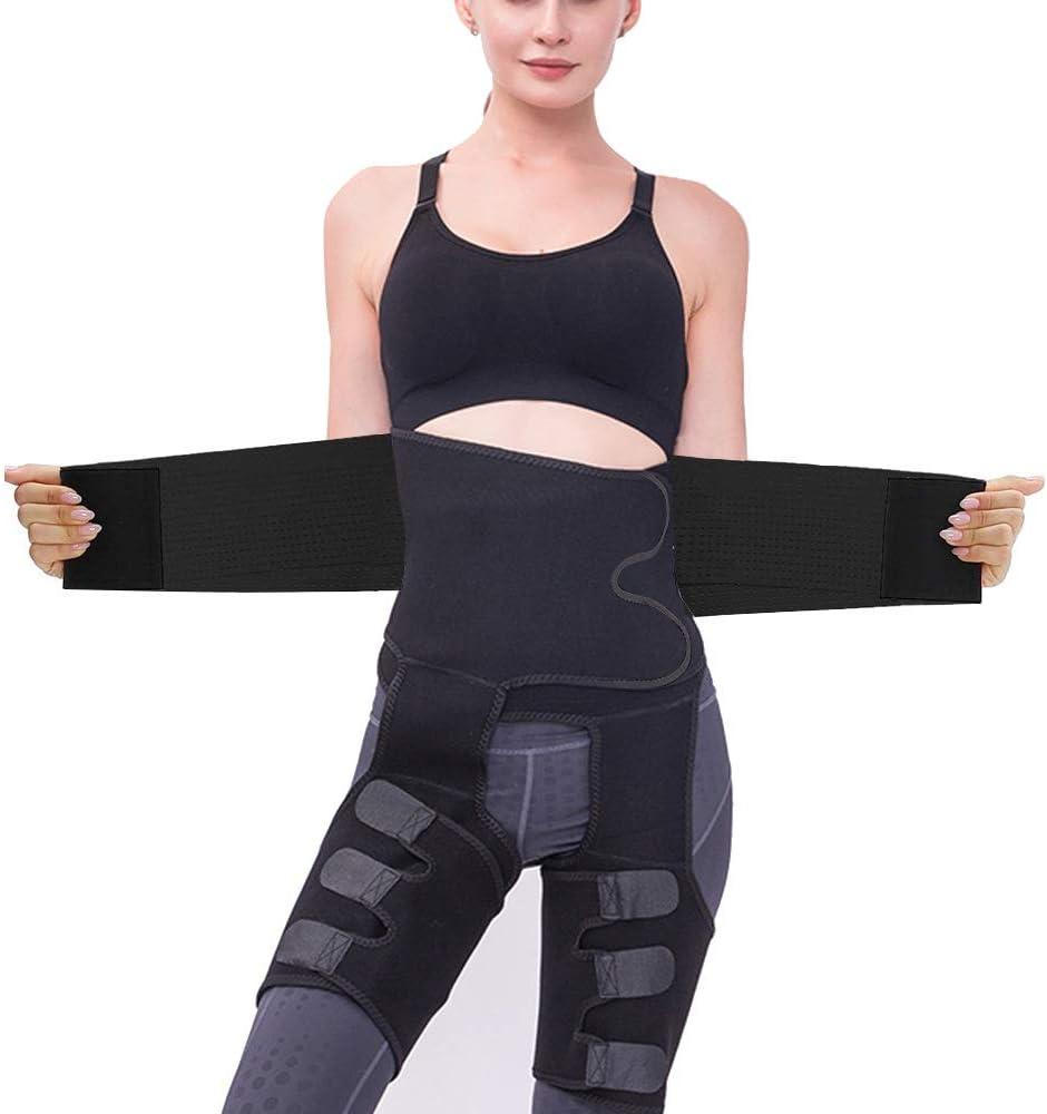 FLYWIND 3-in-1 Waist Trainer for Women, Waist Thigh Trimmer Weight Loss Butt Lifter Body Shaper Strap Sweat Band for Workout, Home Exercise High Waist Enhancer Hip Lumbar Support